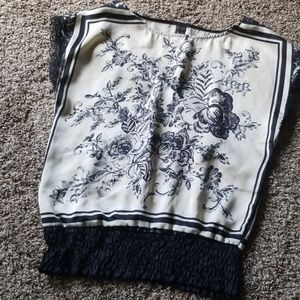 Maurice's Silky Floral Black Cream Blouse S